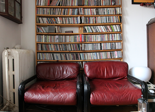 The wall of CDs in Fay Victor's apartment.