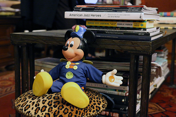 A doll of Mickey Mouse in Sheila Jordan's apartment