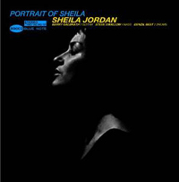 The LP cover of A Portrait of Sheila featuring a photo of  Sheila Jordan in profile