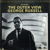 LP cover of George Russell's The Outer View featuring a photo of Russell standing in front of the Guggenheim Museum