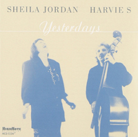 The cover of the CD Yesterdats featuring a photo of Sheila Jordan singing and Harvie S playing bass