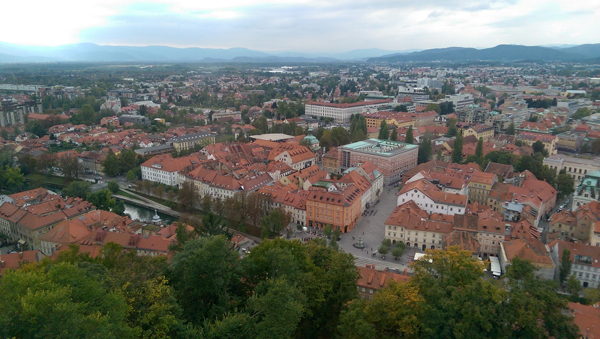 An aerial view of the old town of Ljubljana