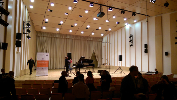 The stage at the concert hall at Ljubljana Conservatory.