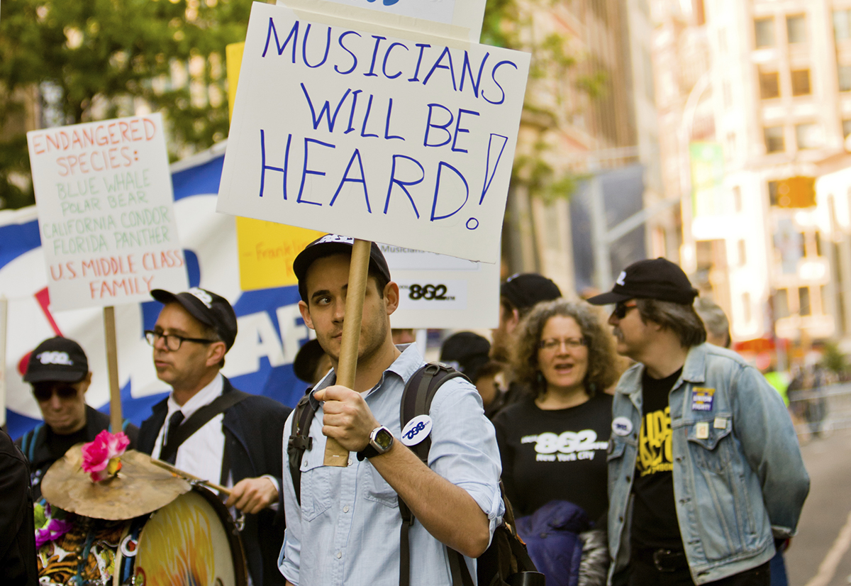 Musicians at peaceful demonstration on Union Square, New York
