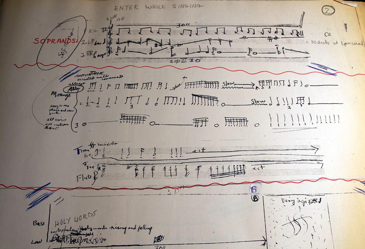 A page from a manuscript of a musical score by Julius Eastman featuring indeterminate notation for singers, trombone, and flute.