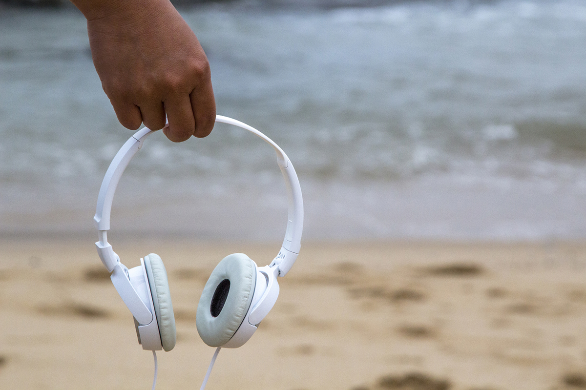 ocean with headphones