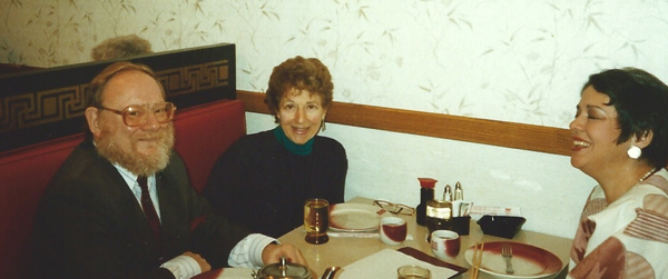 Eaton, Melinda Wagner and her mother sitting at a table in a restaurant.