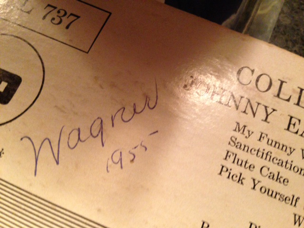 Wagner 1955 handwritten on the back cover of the Eaton and his Princetonians LP