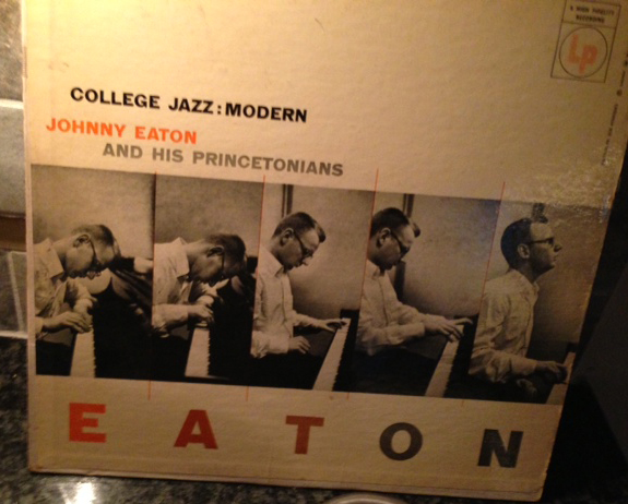 The cover of the LP Johnny Eaton and his Princetonians which features five photos of Eaton playing the piano