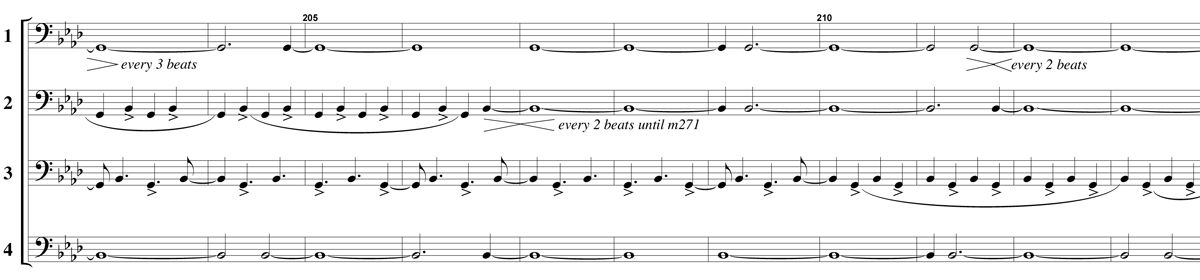 An excerpt from the musical score for Mary Jane Leach's composition 4BC for four bass clarinets.