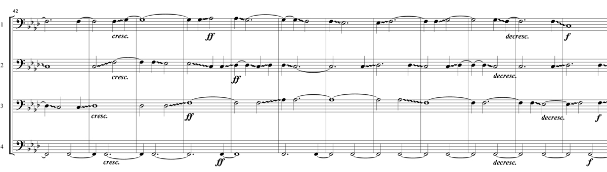 An excerpt from the score of Mary Jane Leach's composition Bare Bones for four trombones.