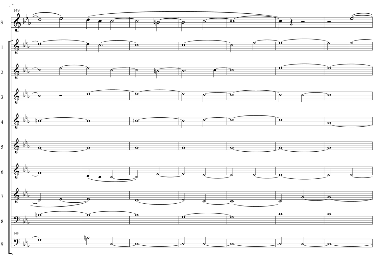 An excerpt from the musical score of Mary Jane Leach's composition Dowland's Tears for 10 flutes.