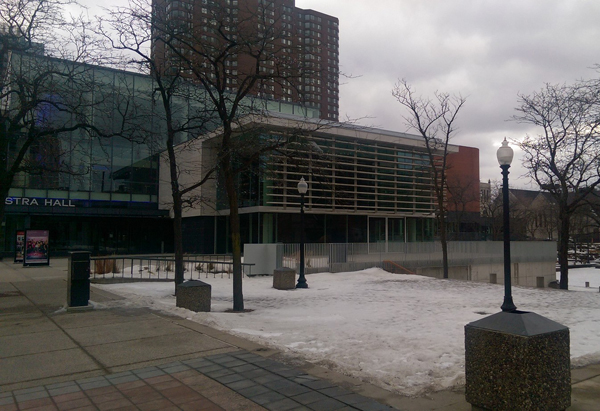 A dusting of snow outside Orchestra Hall in Minneapolis.