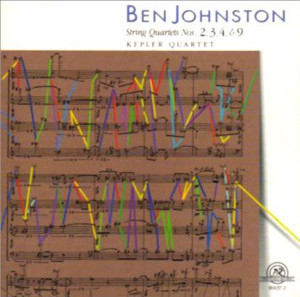 The cover of the Kepler Quartet's first CD devoted to the music of Ben Johnston (New World Records 80637-2).