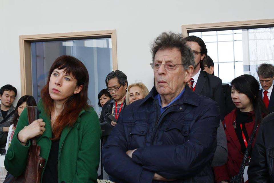 Missy Mazzoli and Philip Glass at the opening reception for the 2016 ISCM World Music Days