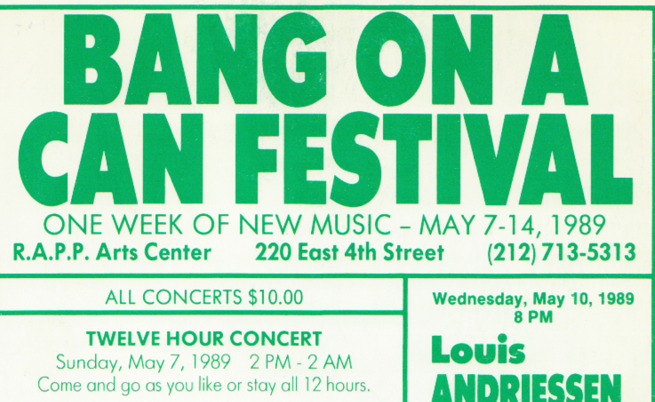 Bang on a Can poster