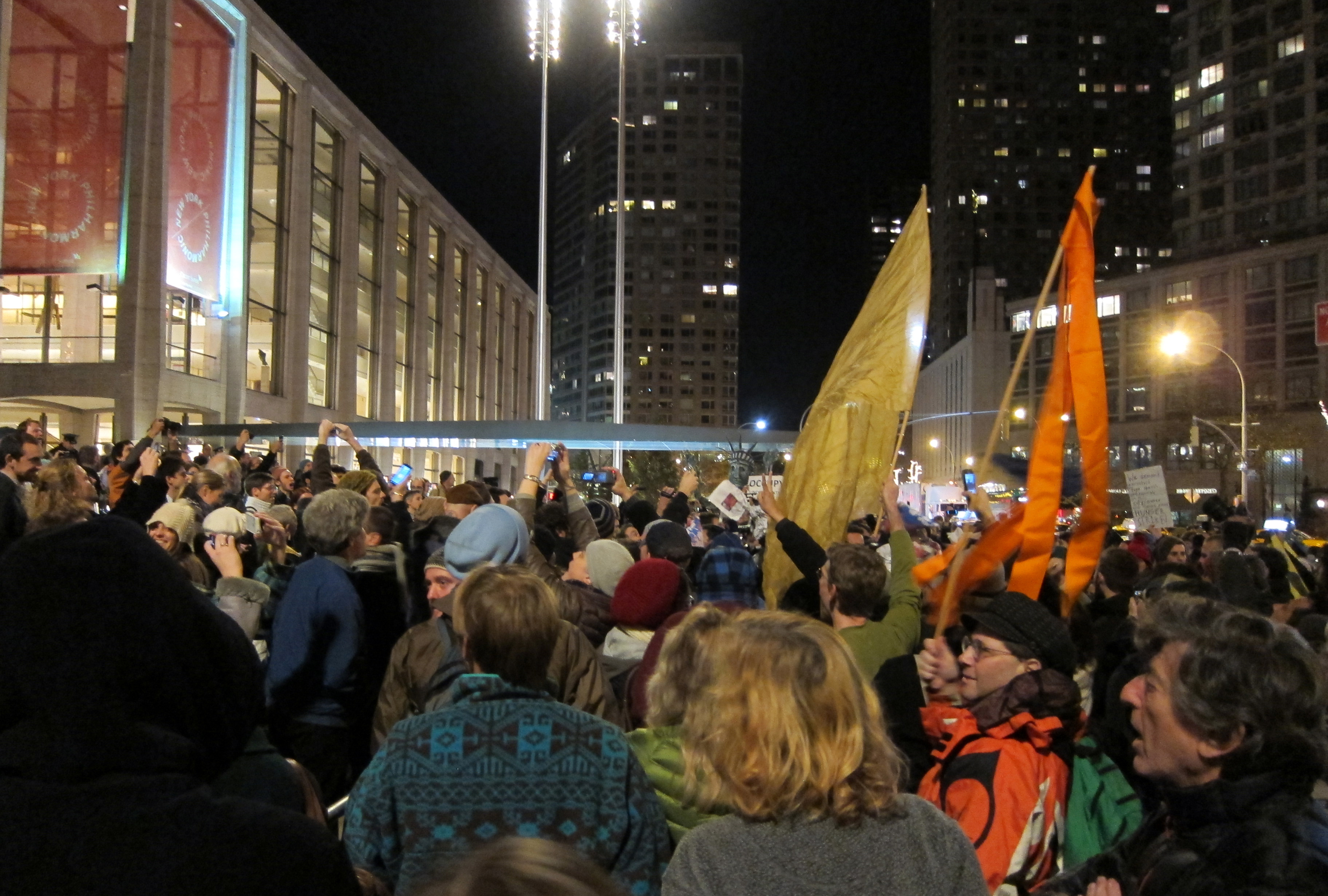 Occupy Wall Street protesters gathered outside on Lincoln Center Plaza