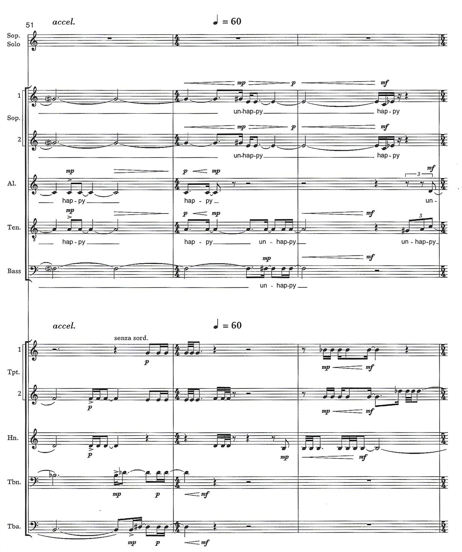 A passage from the score of Eleanor Cory's composition Of Mere Being