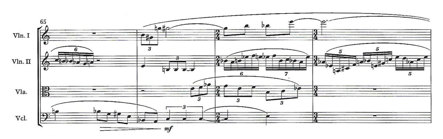 A passage from the score of Eleanor Cory's String Quartet No. 3.