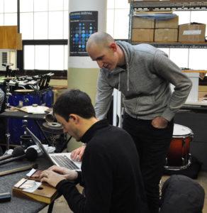Composer Jonathan Pfeffer working with Third Coast percussionist David Skidmore on the Kalimba.
