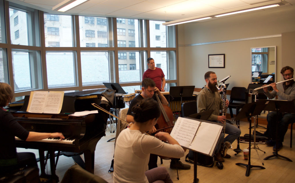 Eighth Blackbird fits in a rehearsal during their Curtis residency.