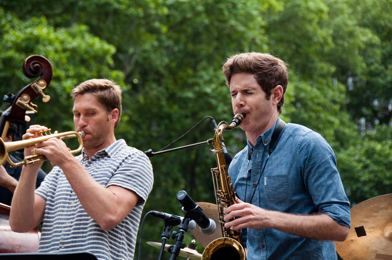 Endsley and tenor saxophonist Ben Wendel during an outdoor concert in Bryant Park