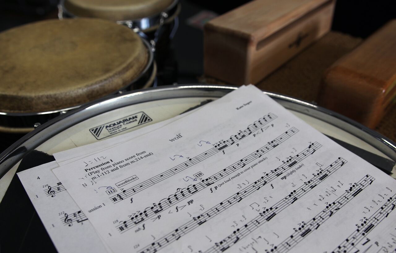 A page from one of the drum parts for one of the pieces in Yarn/Wire's repertoire.