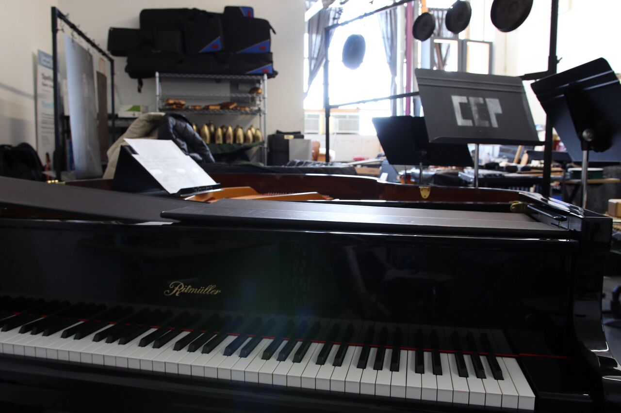 One of the grand pianos in Yarn/Wire's studio.