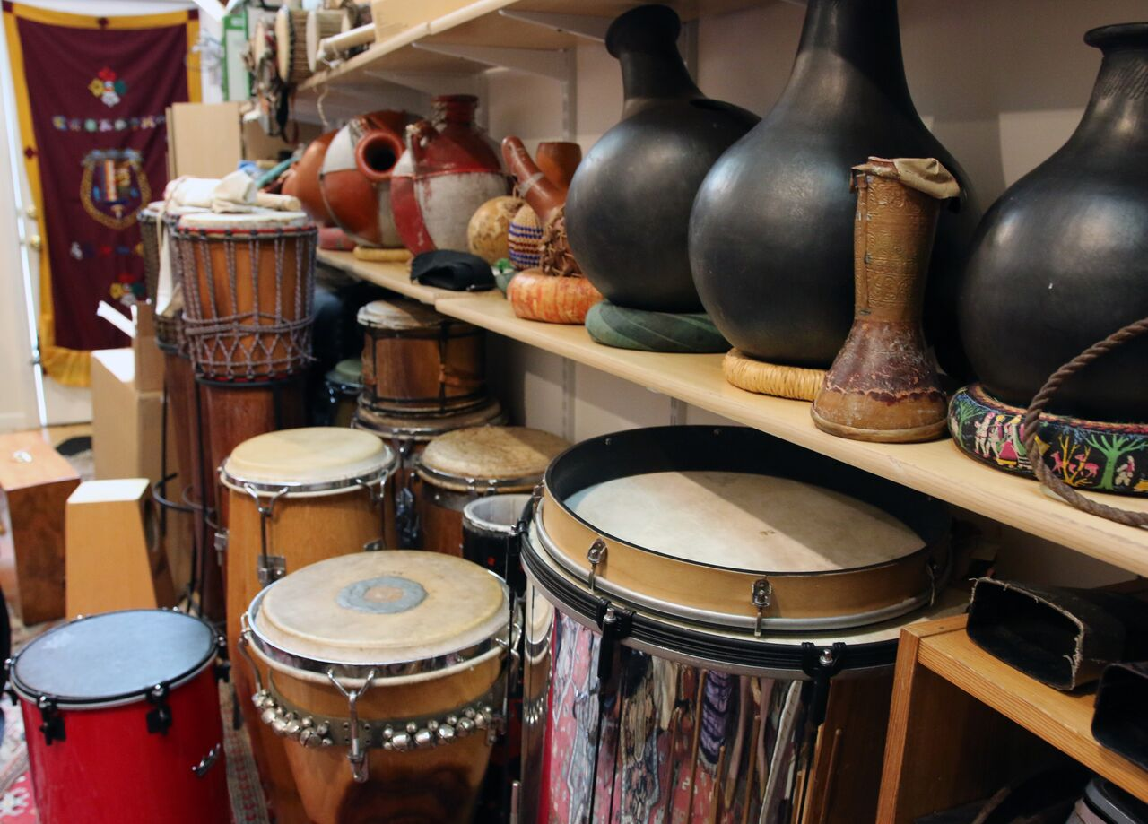 More of the drums and other hand percussion instruments in Adam Rudolph's studio