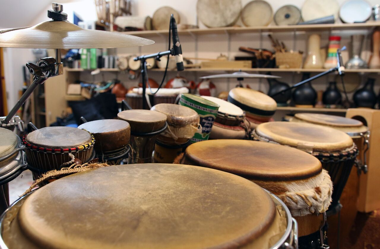 Some of the many hand drums in Adam Rudolph's studio.