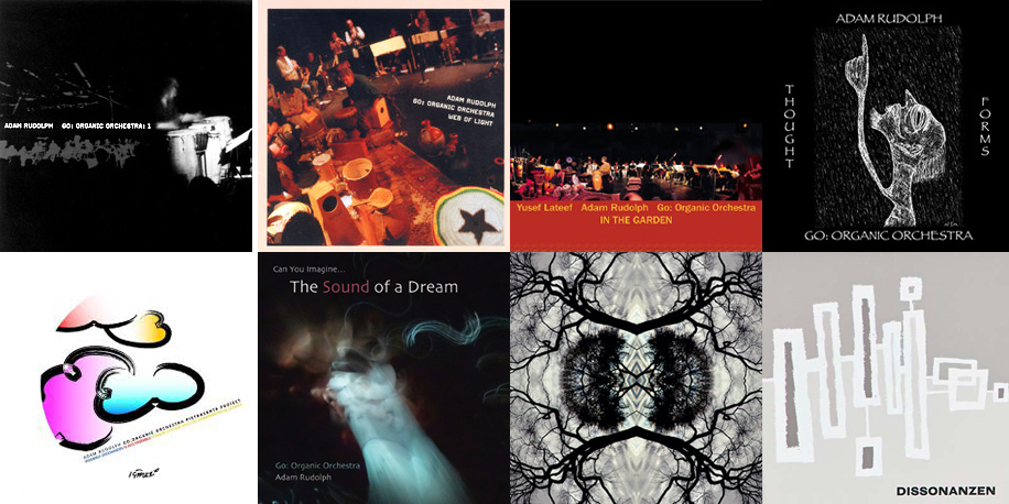 The covers for the eight Go: Organic Orchestra CDs released thus far.