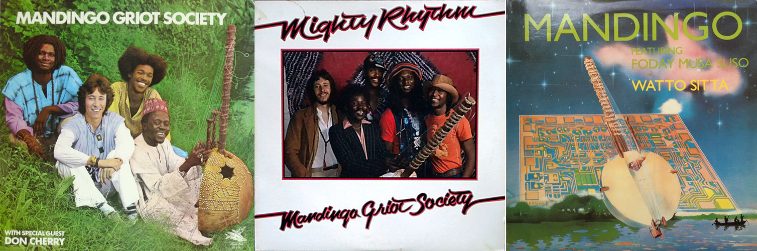 Side by side album covers for Mandingo Griot Society's three LPs, two of which show a young Adam Rudolph with Foday Musa Suso, Hamid Drake, and Joseph Thomas.