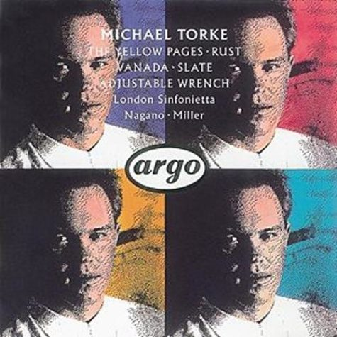 The CD cover for the very first all-Torke CD on London/Decca's Argo imprint shows four identical images of Michael Torke with four different color backgrounds.