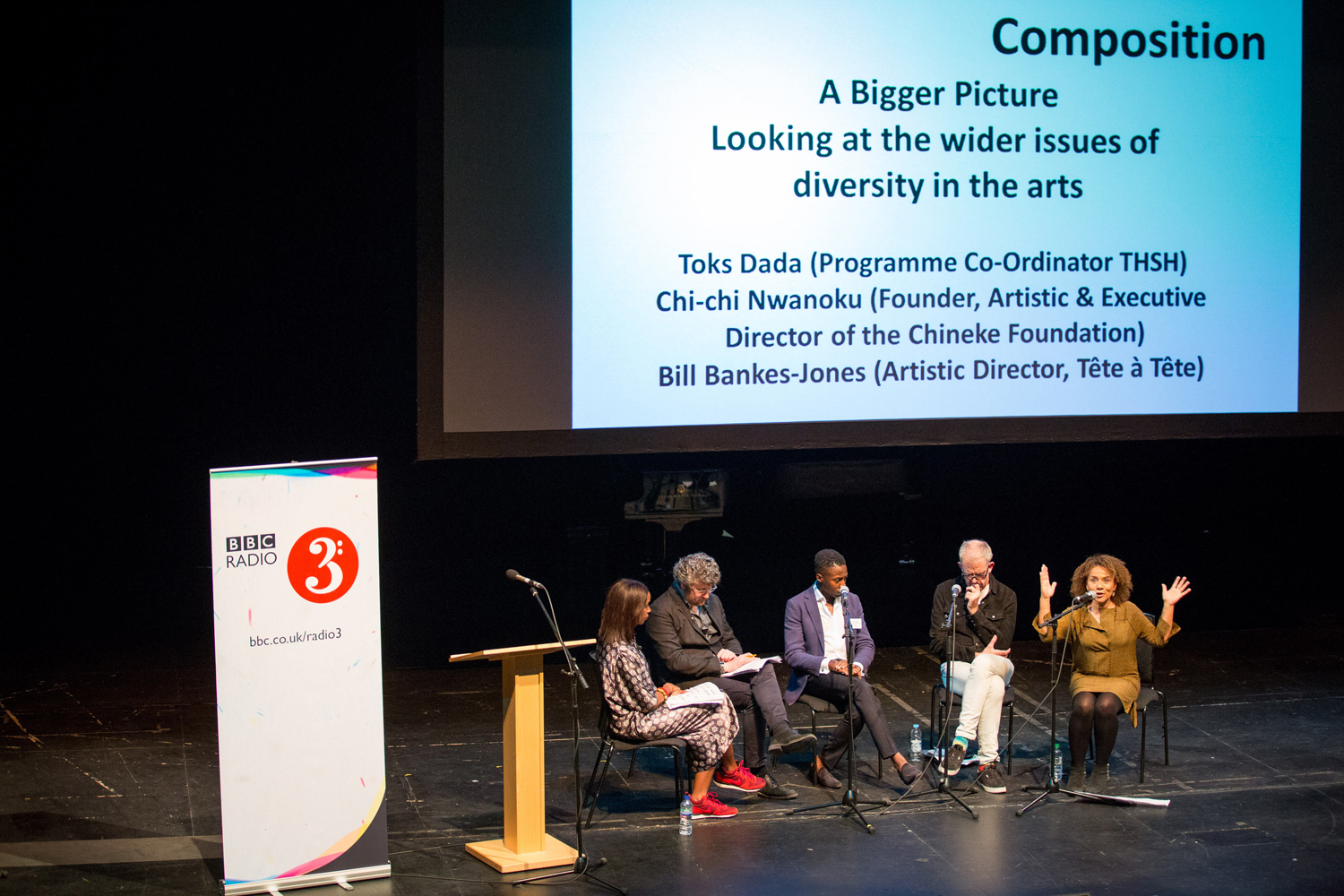 One of the panels during BBC Radio 3's Diversity and Inclusion in Composition Conference. Pictured from left to right are Josie d'Arby, Tom Service, Toks Dada (Programme Co-Ordinator, THSH), Bill Bankes-Jones (Artistic Director, Tête à Tête), Chi-chi Nwanoku (Founder, Artistic & Executive Director of the Chineke Foundation). Photograph © by Guy Levy, courtesy BBC.