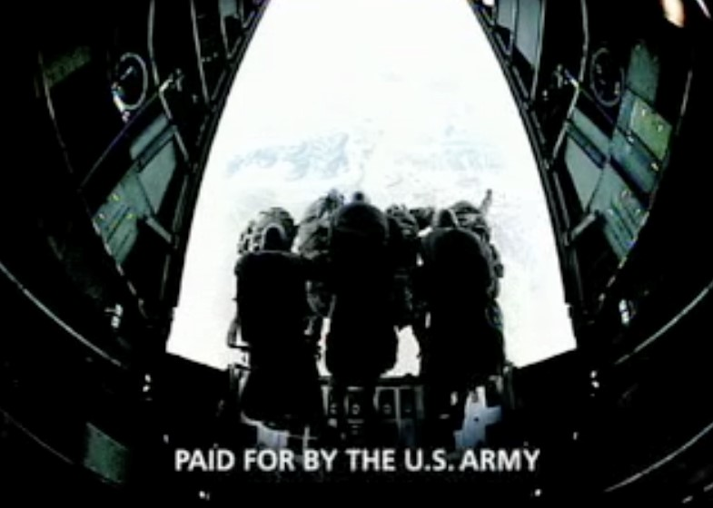 Still from U.S. Army ad scored by CO-PILOT featuring a group of enlisted men and the caption