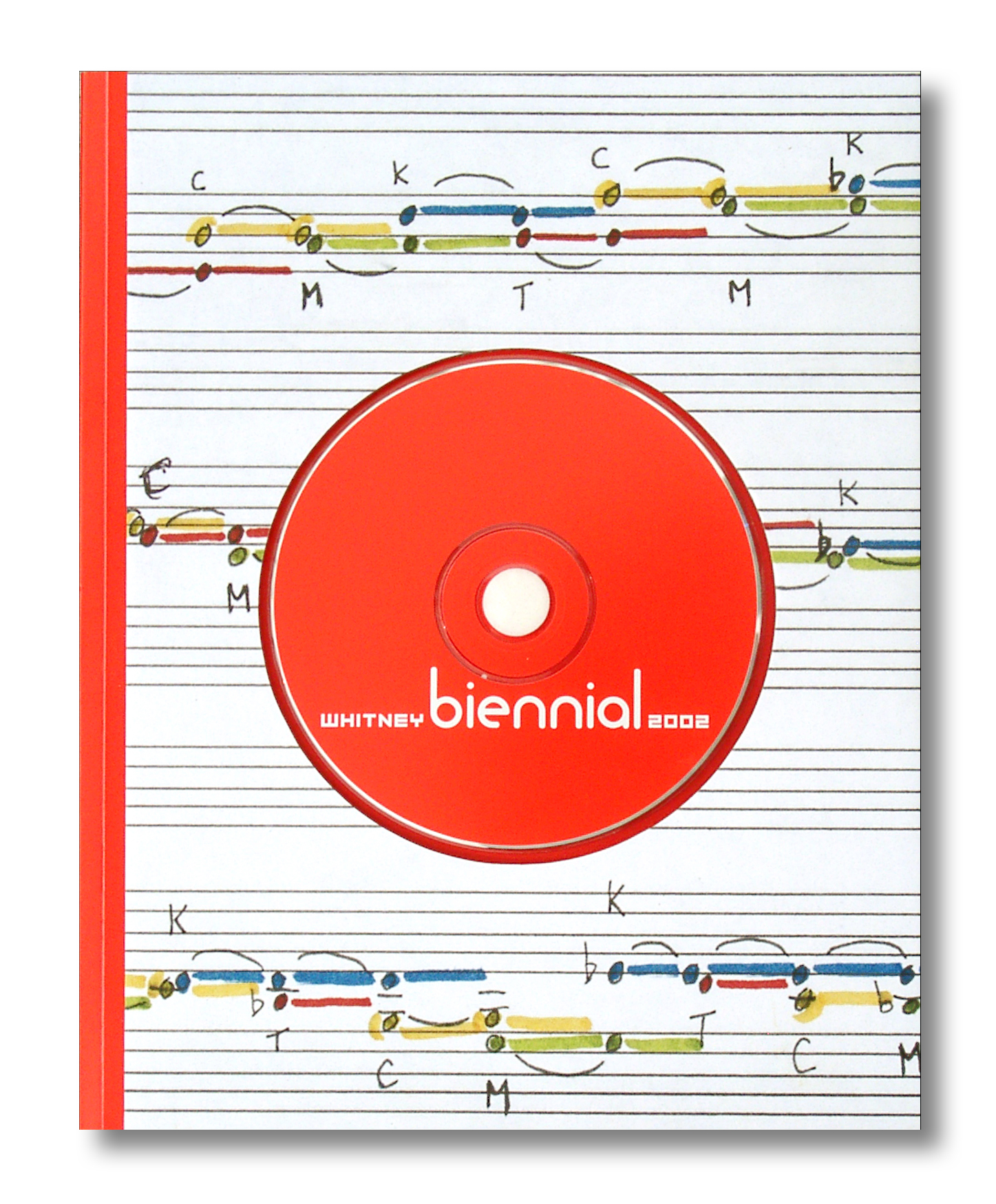 The cover for the 2002 Whitney Biennial catalog which features an excerpt of a musical score by Meredith Monk