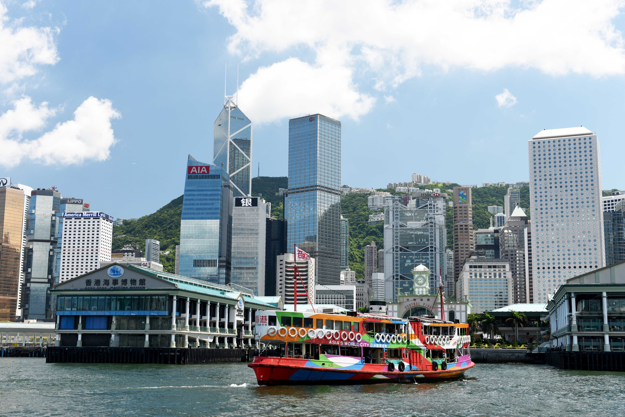 A view of Hong Kong Harbor showing the Kowloon-HK Ferry (Photo courtesy Information Services Department of HKSARG)