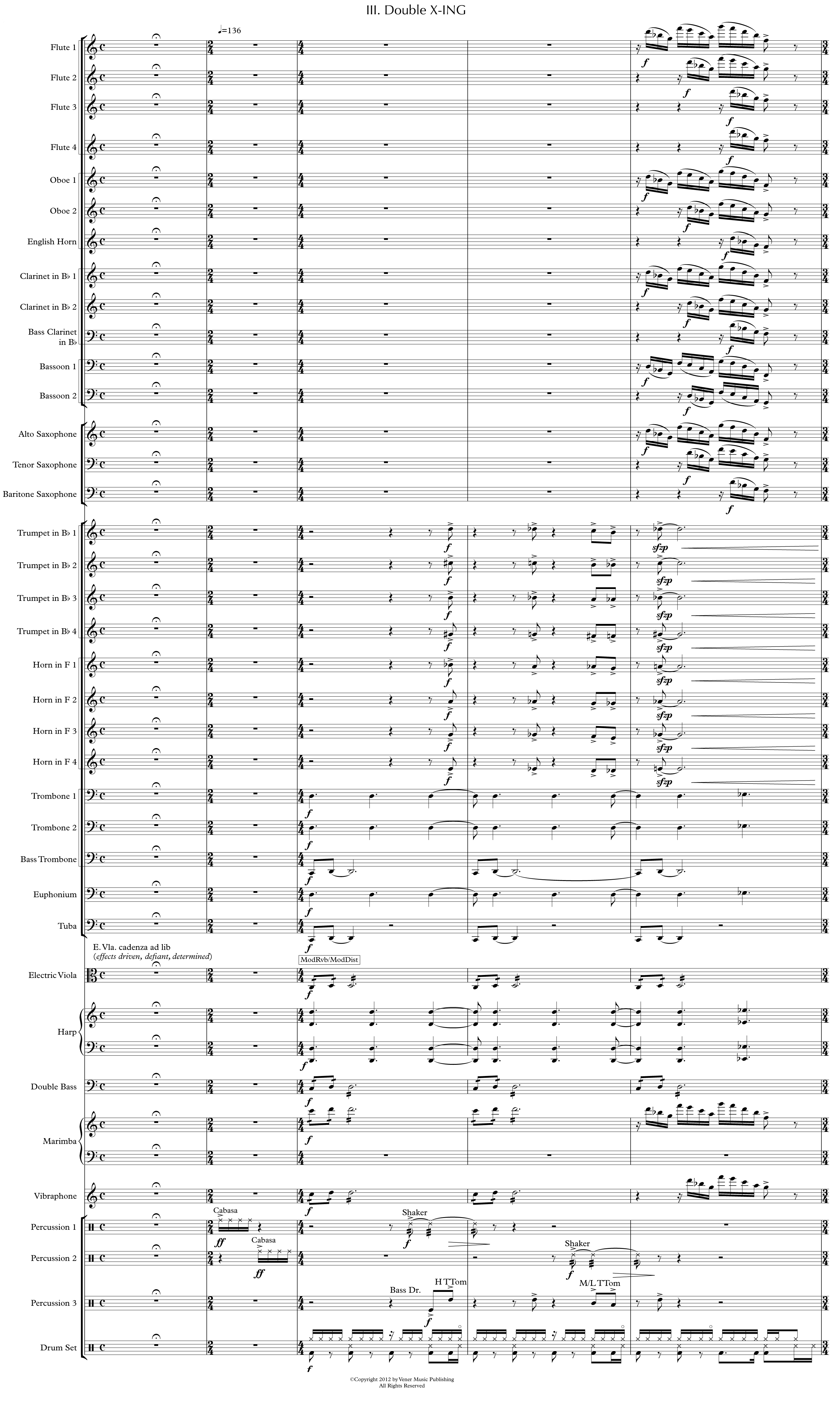 The first page of the third and final movement of the full score of Martha Mooke's X-ING for wind band and solo electric viola.