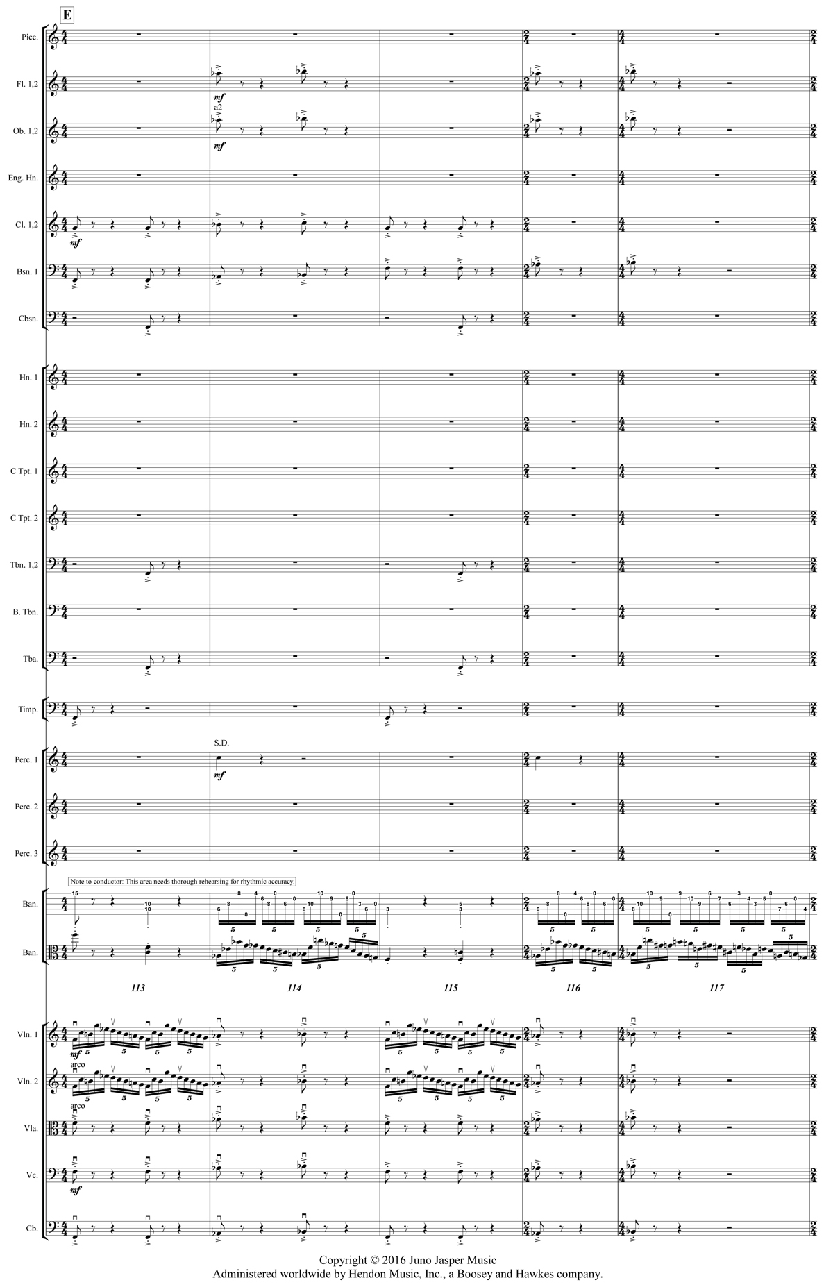 Excerpt from the full orchestral score of Béla Fleck's Juno Concerto