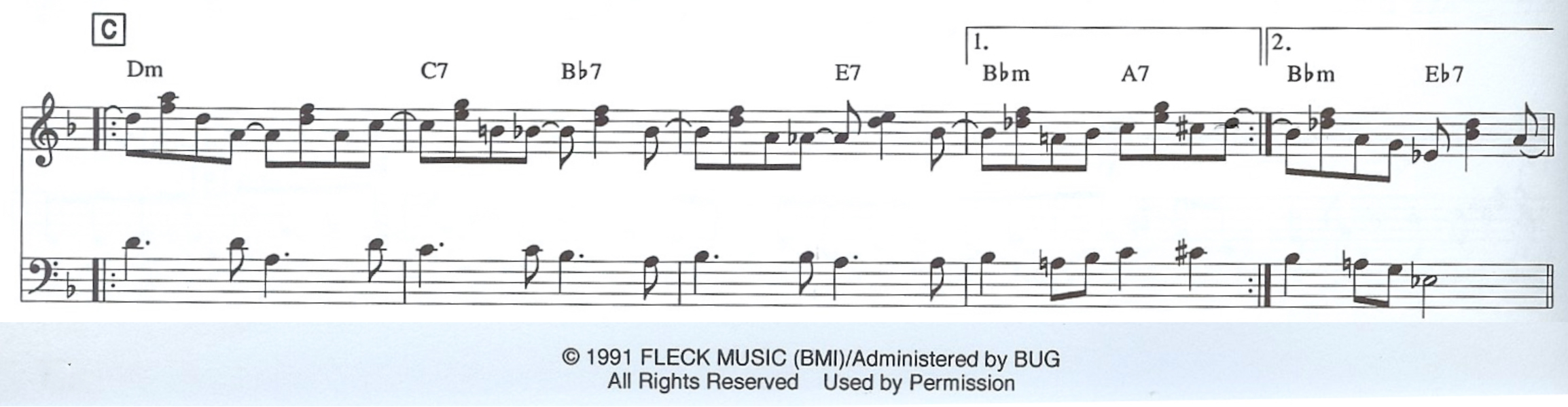 excerpt from the leadsheet (in staff notation) of Béla Fleck's composition