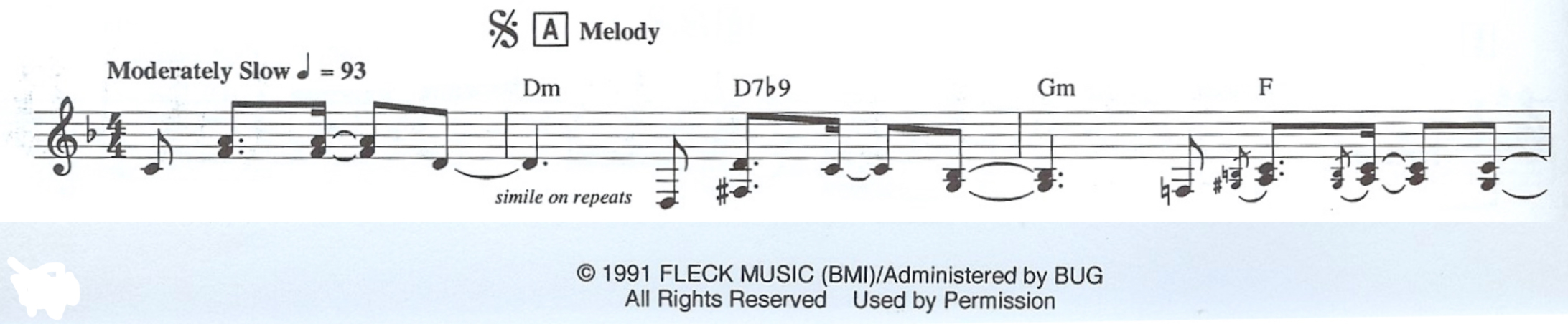 excerpt from the leadsheet of Béla Fleck's composition