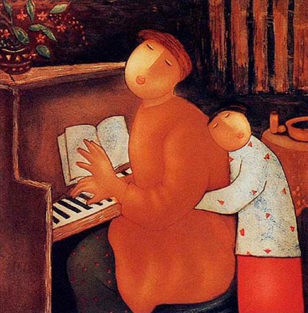 MOTHER by EngTay (a woman seated at a piano playing music and being hugged by her child.) Image by Beth Scupham