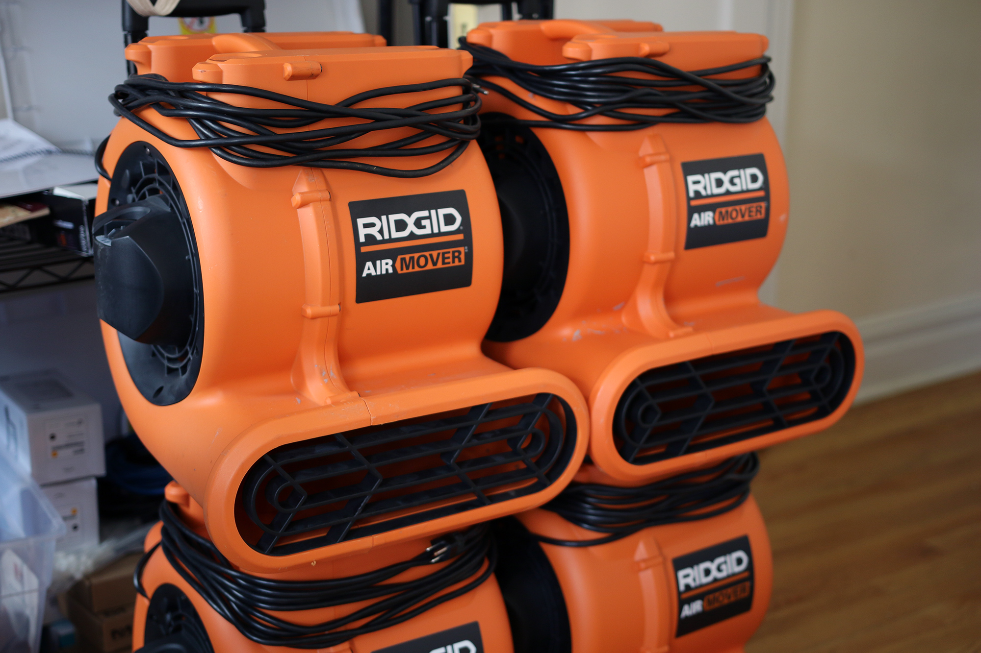 An orange-colored Ridgid Air Mover