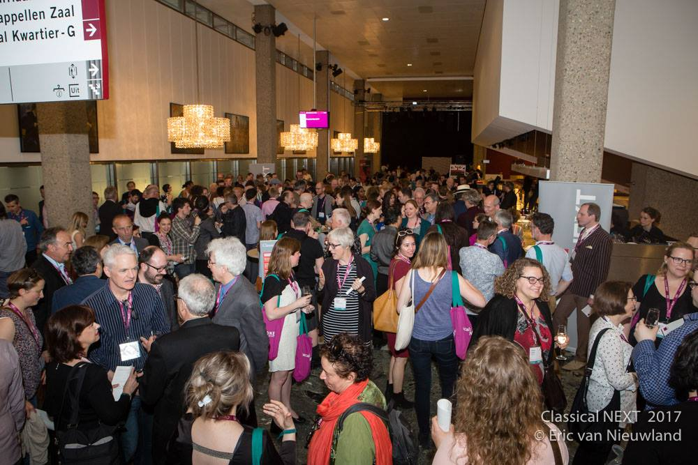 A completely packed foyer for the opening reception of Classical:NEXT
