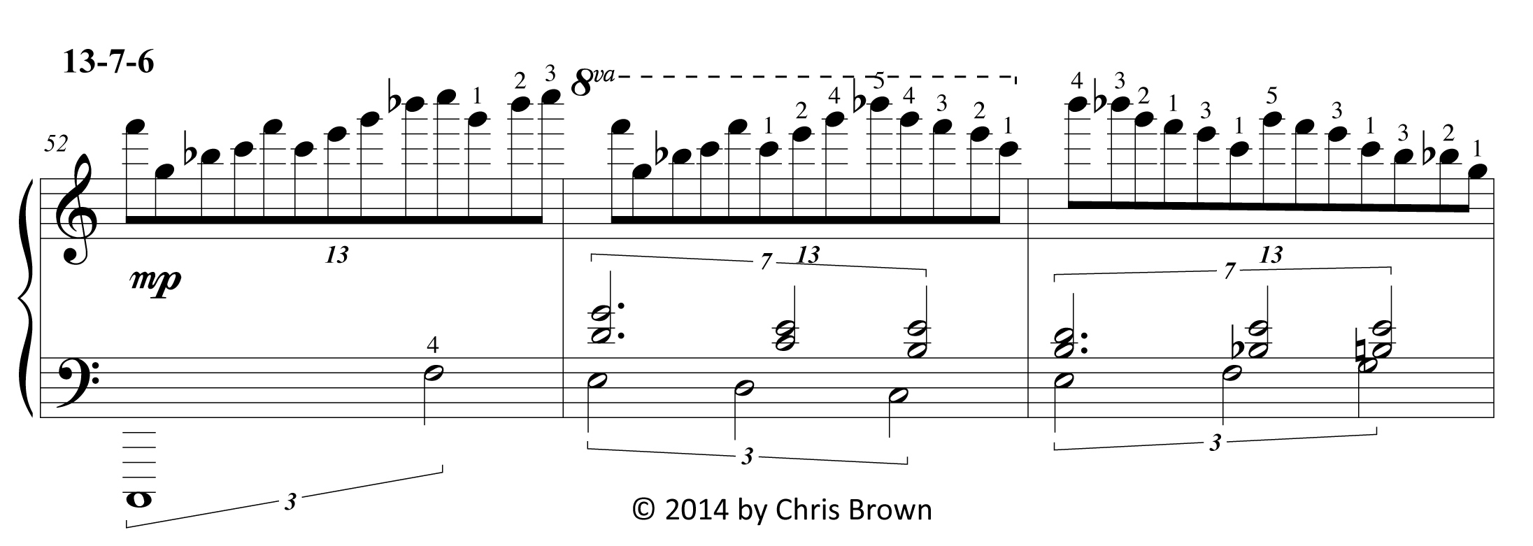 An excerpt from Chris Brown's piano score for Six Primes