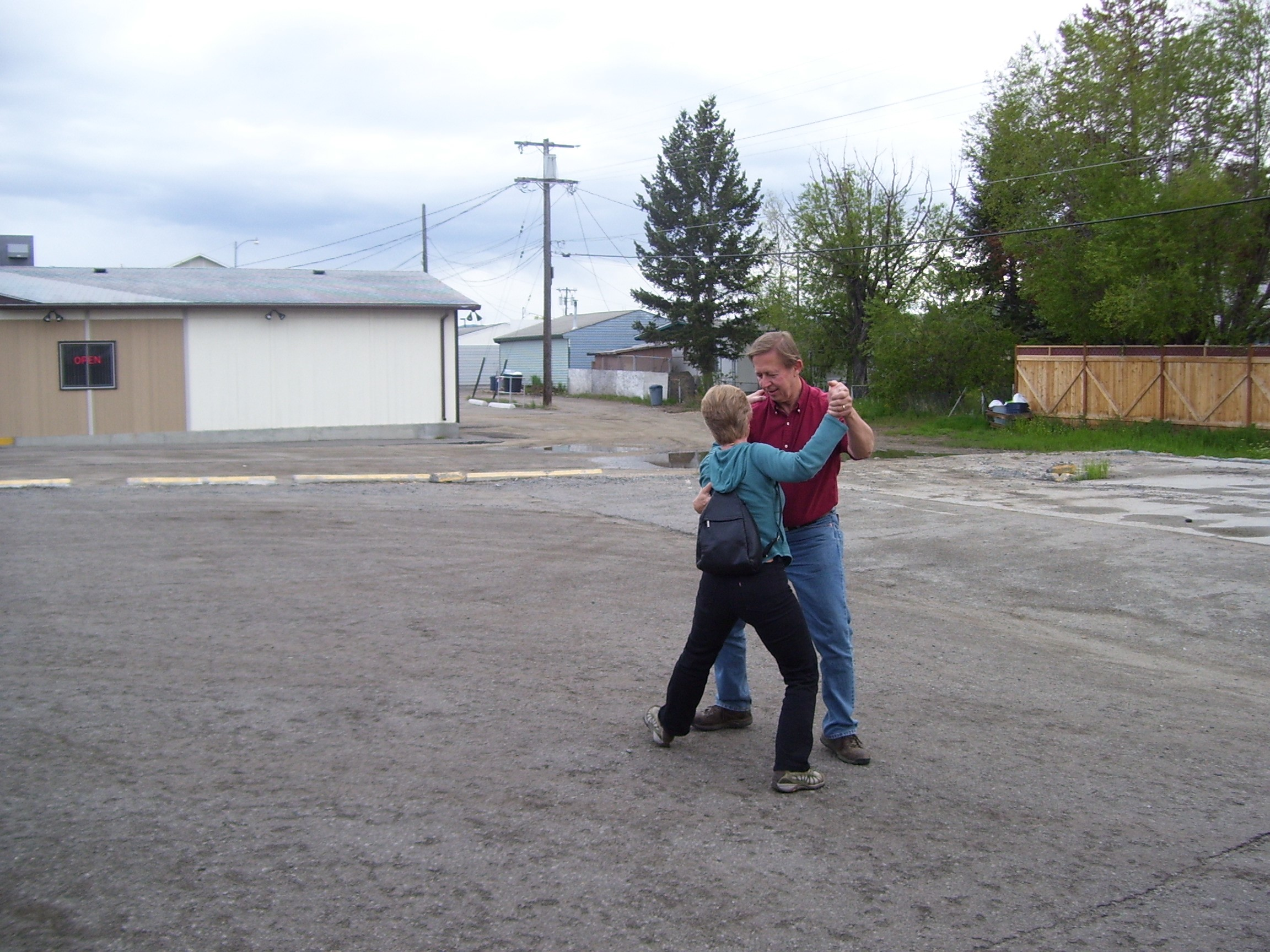 Alison and David Maslanka dancing outside in June 2008, somewhere in Wyoming
