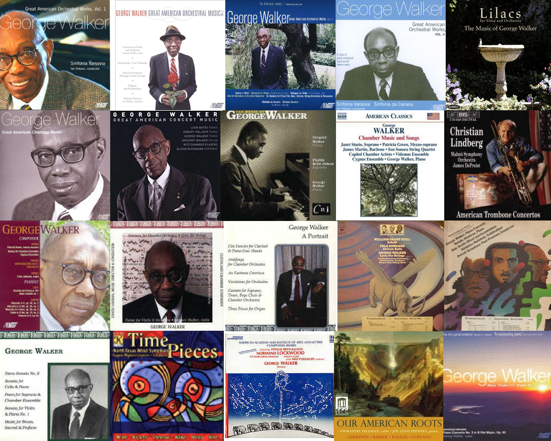 A collage of album covers featuring 20 different recordings containing George Walker's music.