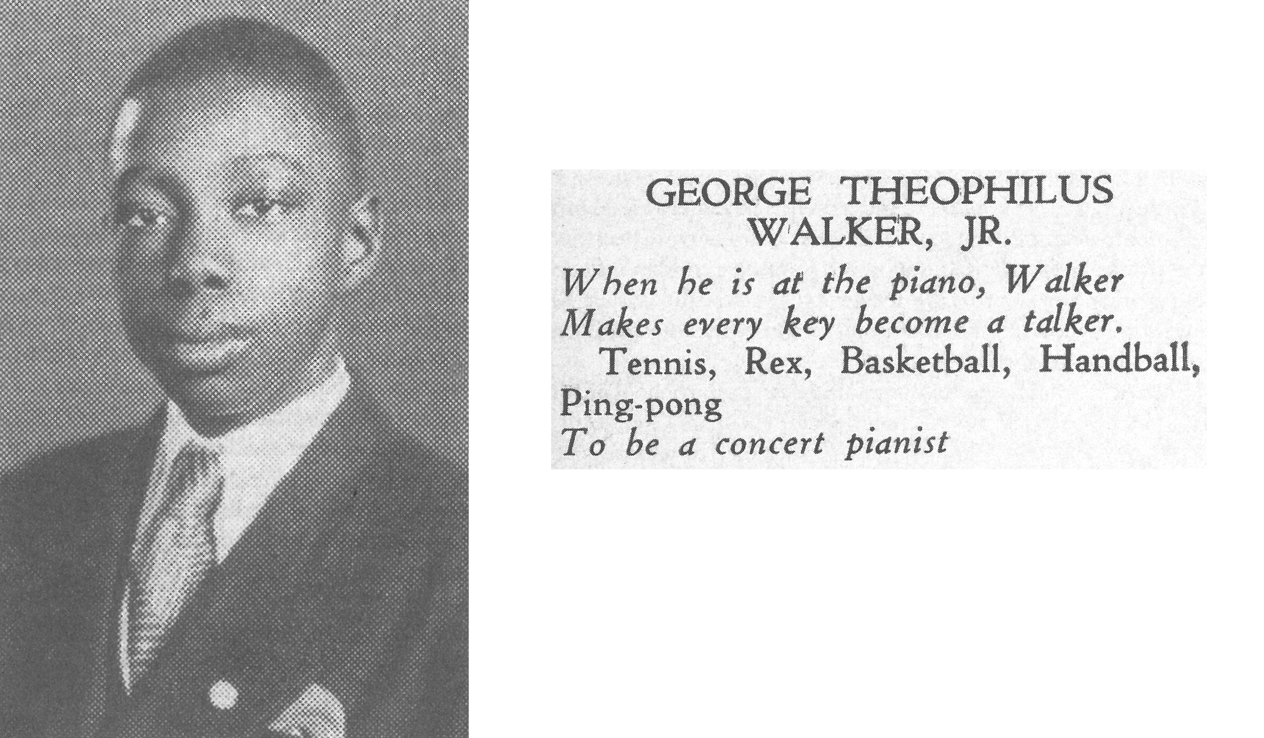 George Walker's photo and a quote about him that appeared in the 1937 Yearbook of Dunbar High School in Washington. D.C.