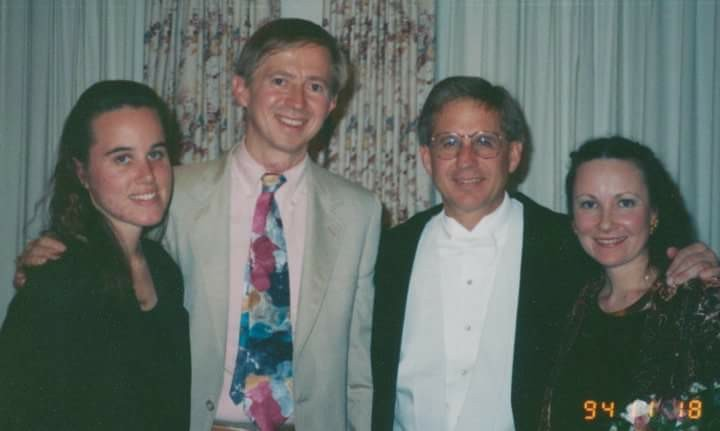David Maslanka and Stephen K. Steele (center left and right) with organist Karen Collier and timpanist Karen Cole following our first performance of Symphony No. 4 in November 1994.