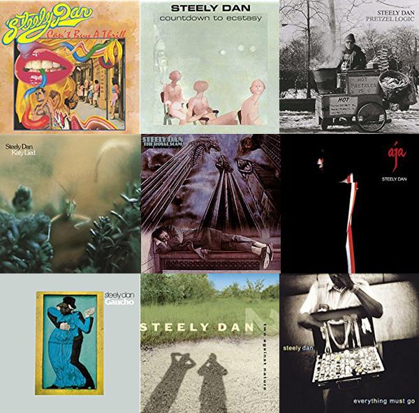 Covers for all 9 Steely Dan albums arranged chronologically.